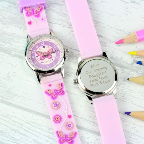 Personalised Kid's Pink Butterfly Watch with Presentation Box